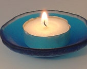 RESERVED.  Blue fused Glass tea light candle holder small dish