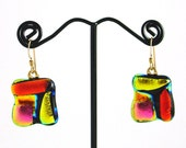Bright dichroic glass square earrings in orange, yellow, and pink