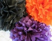 10 Tissue Poms --- Halloween and Fall Colors Purple, Black, Orange SALE