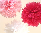 10 Poms --- Beautiful Pinks ---VALENTINES DECORATIONS --- SALE