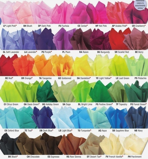 50 sheets of premium tissue paper -- pick your colors