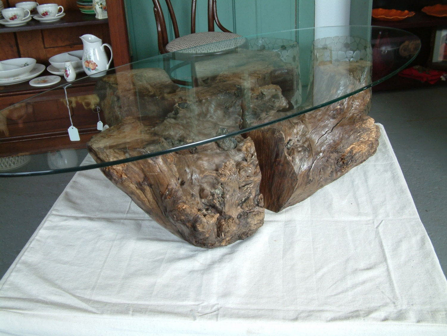 Myrtle Wood Stump Coffee Table Base