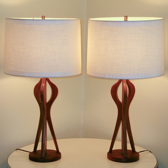 PAIR Mid-Century Danish Modern Sculpted Teak Lamps . 30 inch