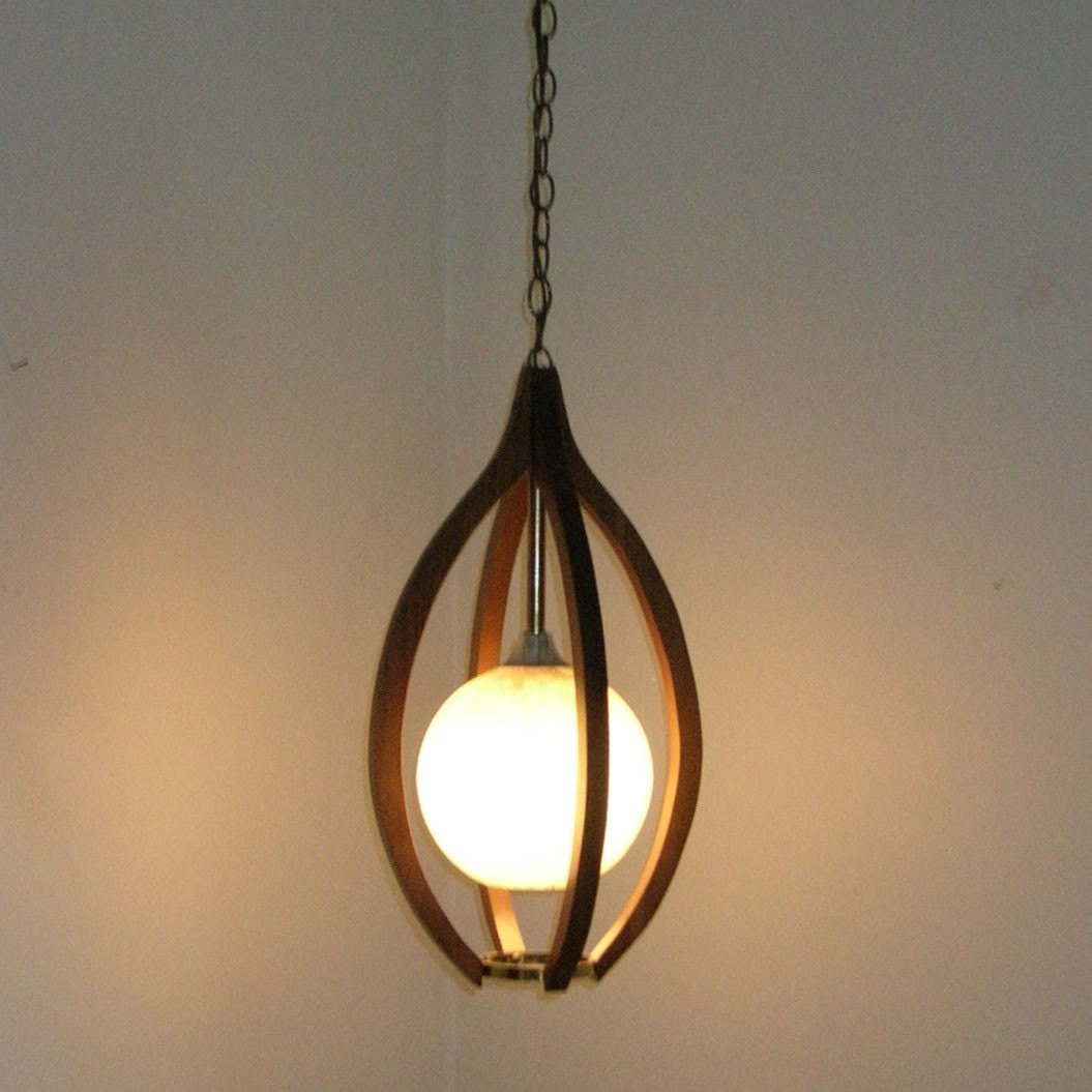 Danish modern teak hanging swag lamp moe light fixture for Danish modern light fixtures