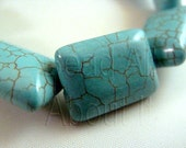 18x13mm Dyed Howlite Turquoise Puffed Rectangle Semi Precious Beads Strand