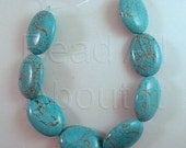 18x25mm Turquoise Color Dyed Howlite Puffed Oval Semi Precious Beads Strand