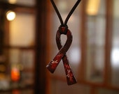 Japanese Iron Lacquer Pendant necklace ribbon peace
