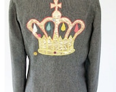 Upcycled Grey Wool Jacket with Crown Motif