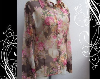 Wonderful Vintage 70s See Through Top Blouse Shirt Bust 38