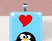 GLASS PENDANT NECKLACE - I love penguins