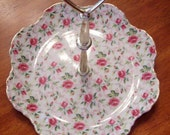 Vintage Lefton Rose Chinz Tidbit Tray with handle - Perfect Condition - Hand Painted
