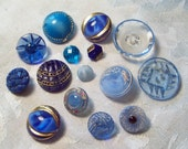 Beautiful Antique and Vintage Blue Glass Buttons, 16 in lot - 1930's
