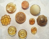 Beautiful Antique and Vintage Golden and Taupe Glass Buttons, 10 in lot - 1930's