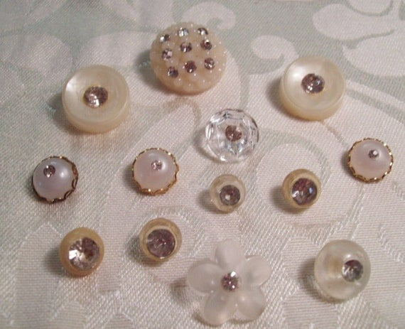 Antique Buttons, Really Pretty Buttons with Nice Clean Clear Stones  13 in lot