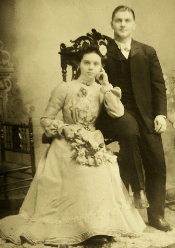 Antique Wedding Portrait Photograph late 1800's D