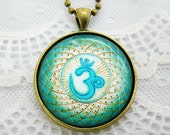 OM Symbol Mandala Necklace, Sacred Sign, Bubble Glass Pendant Necklace, Vintage Style, NEW