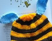 Busy Bee stripey hat for newborn - 1 year
