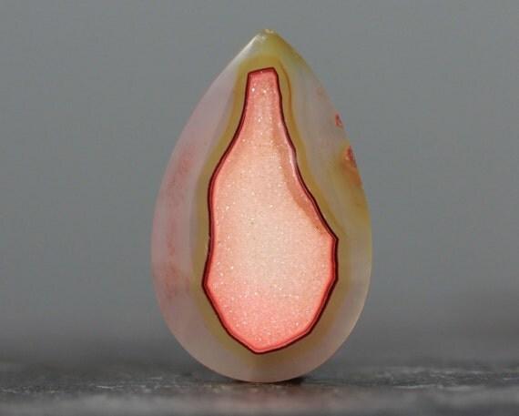 Orange Druzy Chalcedony Gemstone with Orange Crystal Formations - 36mm (2422)