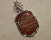 Sterling Silver Wire Wrap Tumbled Stone Pendant-Jasper-Handmade Gemstone Jewelry-ts025