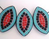 MEXICAN Necklace Mosaic Turquoise Red Black Leaves in Polymer Clay