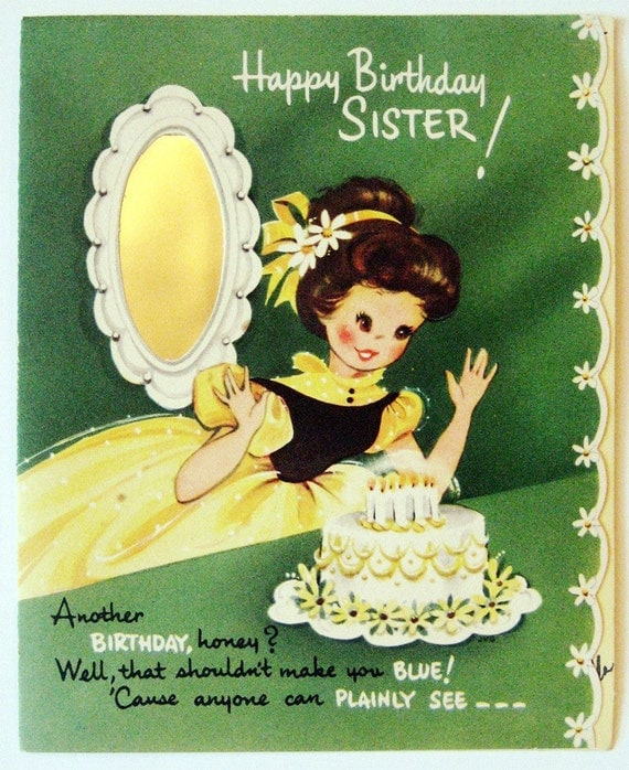vintage birthday card happy birthday sister by starmango on etsy, Birthday card