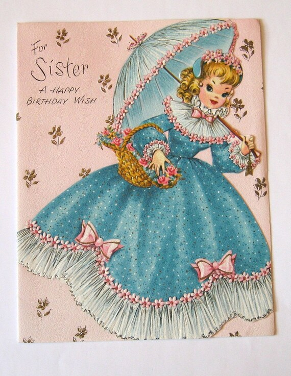 Vintage Birthday Wishes For Sister ~ Reserved for katie vintage birthday card sister by starmango