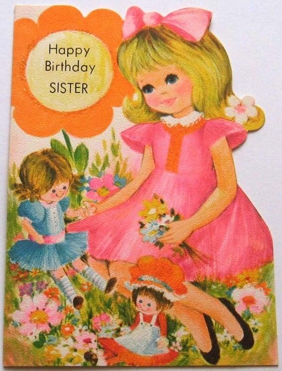 vintage birthday card happy birthday sister birthday unused