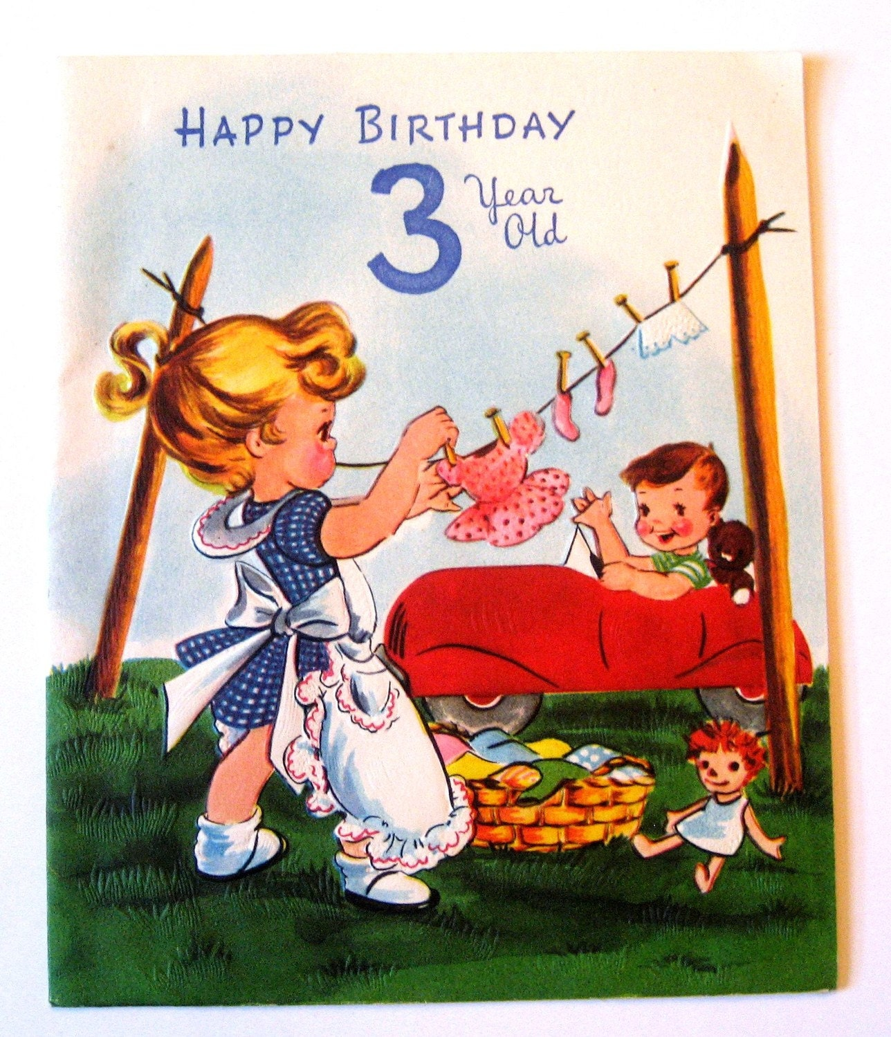 Vintage Birthday Card Happy Birthday 3 Year Old