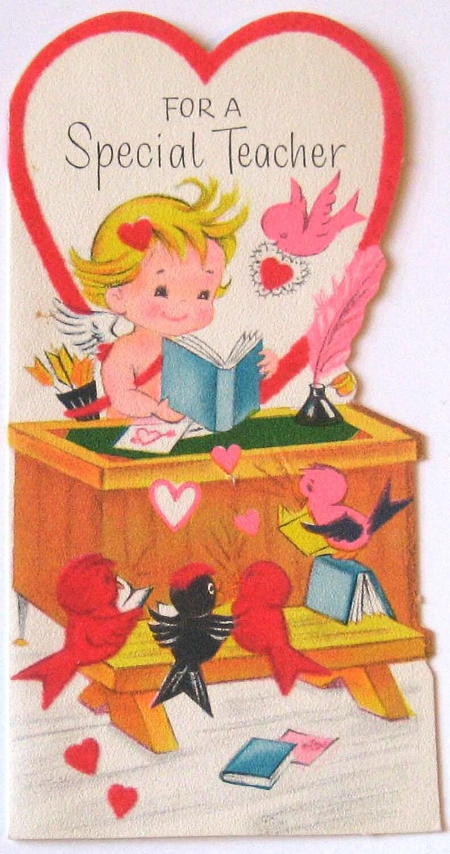 vintage valentine card a special teacherstarmango on etsy