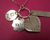 Handstamped Family Necklace, Sterling Silver, Mothers Day