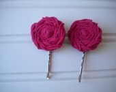 Pair of Hot Pink Rolled Rosette Bobby Pins