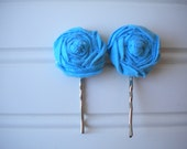 Pair of Sky Blue Rolled Rosette Bobby Pins