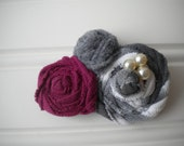 Rolled Rosettes Hair Clip in Gray and Burgundy