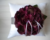 Wine Peony Ring Bearer Pillow