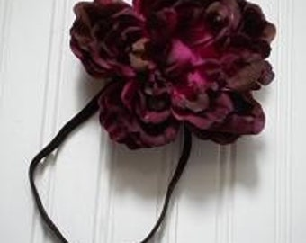 Wine Peony Elastic Headband
