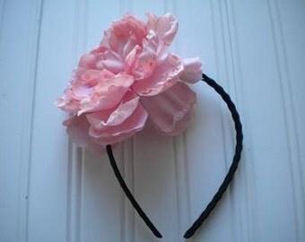 Zigzag Wire Headband with Dusty Pink Peony