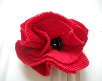 Red Cloth Rosette Pin