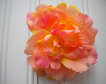 Coral Rose Hair Clip