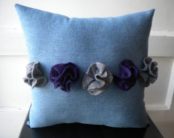 Gray and Purple Stripe Rosettes Pillow