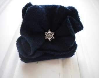 Navy Blue Cloth Rosette Pin