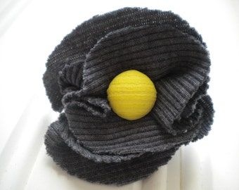 Dark Gray Cloth Rosette with Vintage Yellow Button Pin