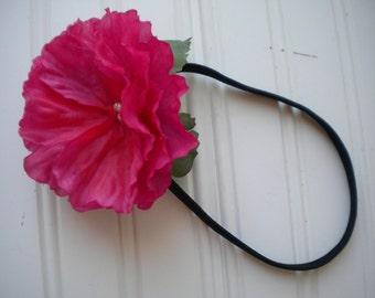 Pink Morning Glory Headband with Black Elastic Band