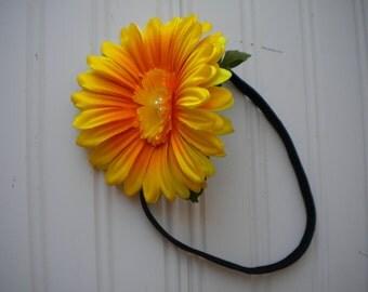Yellow Sunflower Headband with Black Elastic Band