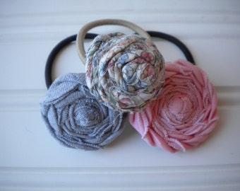 Set of Three Rolled Rosette Ponytail Holders in Shabby Chic