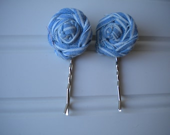 Pair of Blue and White Rolled Rosette Bobby Pins