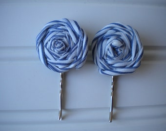 Pair of White and Blue Rolled Rosette Bobby Pins-2