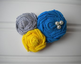 Rolled Rosettes Hair Clip in Gray, Yellow and Turquoise