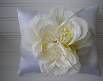 Cream with Green Rose Ring Bearer Pillow