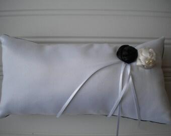 Black and White Rolled Rosette Ring Bearer Pillow