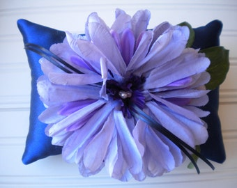 Purple Pom Pom Ring Bearer Pillow